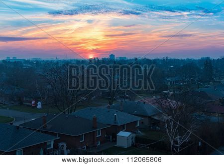 Beautiful Toronto City Sunrise in Winter