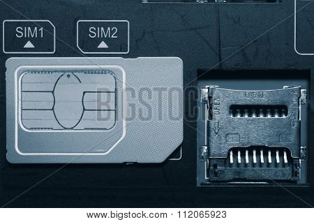 SIM card on slots in mobile phone.