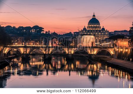 Rome, Italy: St. Peter's Basilica and Saint Angelo Bridge