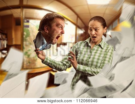 Businesswoman with phone in her hand, crazy man crying from it
