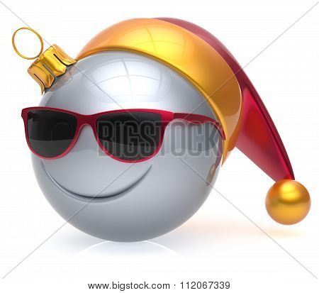 Christmas Ball Emoticon Smiley Face Eyeglasses Adornment Icon