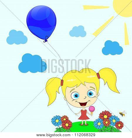 Little Girl With Balloon Vector Illustration