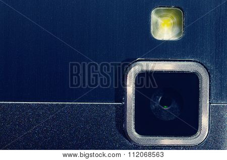 Web camera and flash your mobile phone.