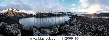 Highland iceland blue volcano lake