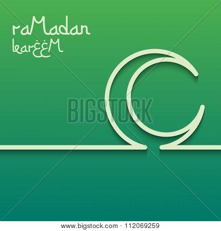 Concept card for ramadan kareem celebration. Bright green background. The inscription Ramadan Kareem