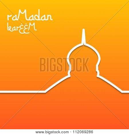 Template design concept card for ramadan kareem celebration. Bright orange background. The inscripti
