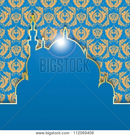 Congratulatory background to Muslim holiday of Ramadan.  Blue background with gold pattern. The insc