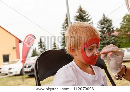 Little Boy And Body Painting