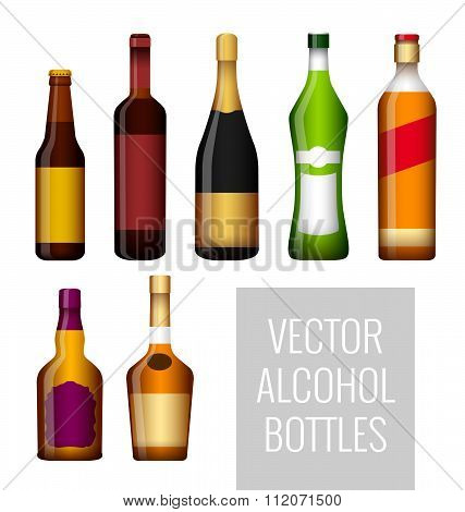 Vector bottles of alcohol