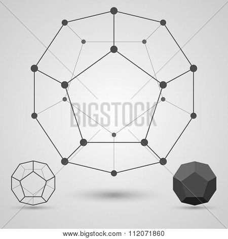 Monochrome  framework of connected lines and dots. Dodecahedron geometric elements.