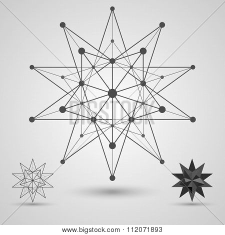 Monochrome skeleton of connected lines and dots. Great stellated dodecahedron stereometric element.