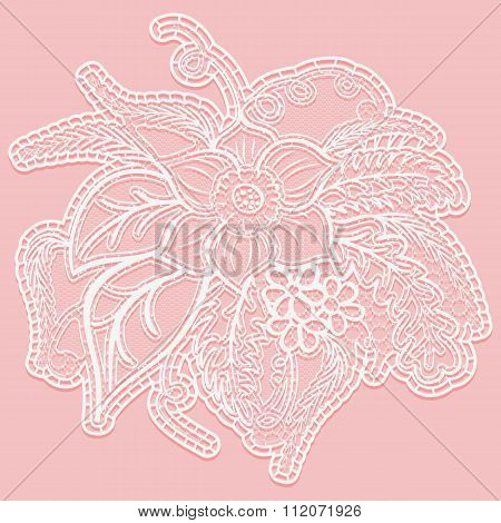 Lace single large flower with leaves. White openwork bouquet isolated on pink background.