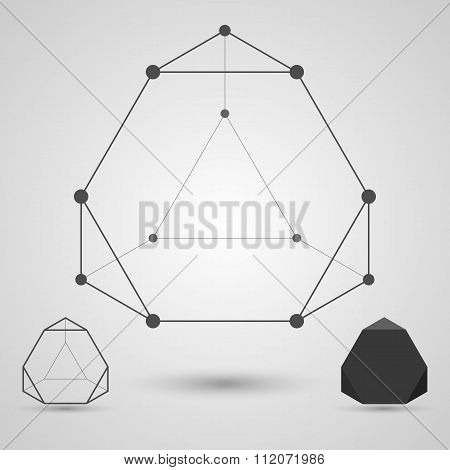 Monochrome wireframe of connected lines and dots. Truncated tetrahedron geometric element.