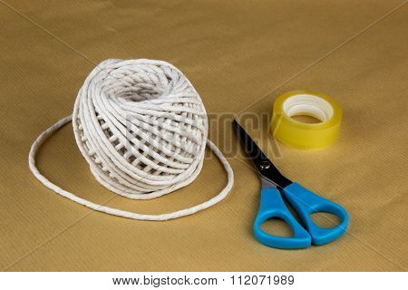 Wrapping Paper String Sticky Tape And Scissors
