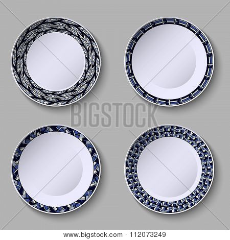 Set Of Decorative Plates With A Blue Ornament Of Handwork And A Empty Space In The Center.