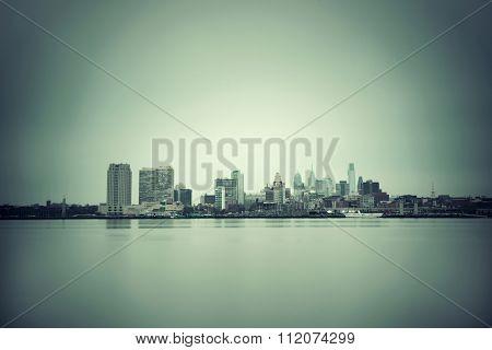 Philadelphia skyline with urban architecture.
