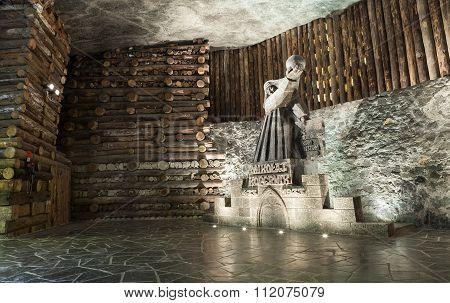 Krakow, Poland -  13 December 2015 : Nicolaus Copernicus Salt Statue In Wieliczka Salt Mine On 13 De