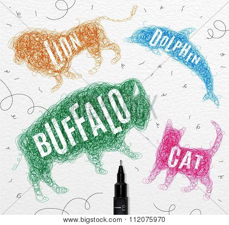 Tangled Line Buffalo Color