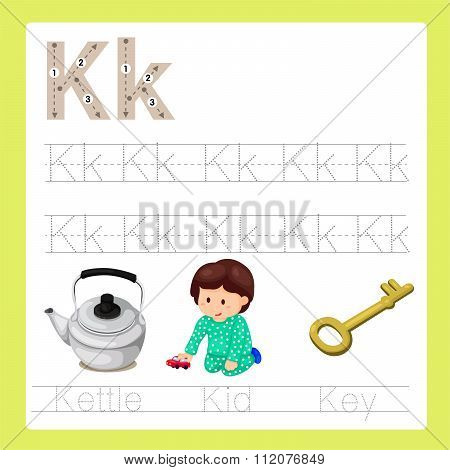 Illustration of K exercise A-Z cartoon vocabulary