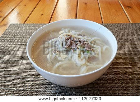 Traditional Mongolian cuisine. Soup with homemade nuddles and lamb