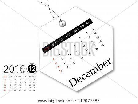 December 2016 - Calendar series for tag design
