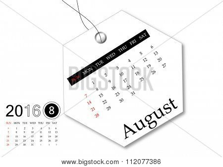 August 2016 - Calendar series for tag design