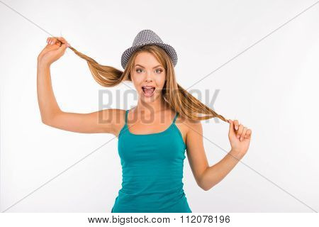 Cute Funny Girl Fooling Around With Her Hair