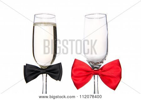 Glass Of Champagne With Bow Tie