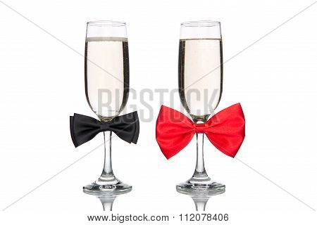 Glass Of Champagne With Bow Tie, Valentine's Day