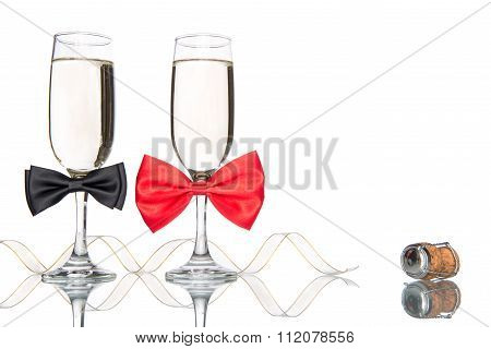 Glass Of Champagne With Bow Tie, Celebration Valentine's Day
