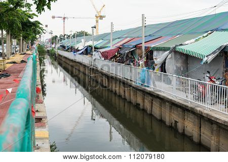 Polluted Canal And Market