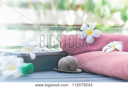 tropical spa on blur nature background