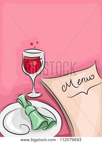 Illustration of a Fine Dining Restaurant Table with a Menu, Plate, and Wineglass on Top