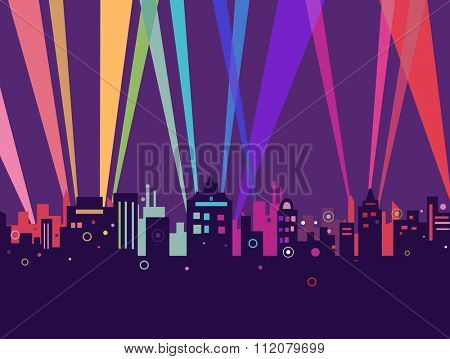Illustration of Colorful City Lights Coming from the Back of Giant Buildings