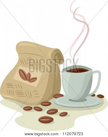 Illustration of a Cup of Brewed Coffee Sitting Beside a Bag of Coffee Beans
