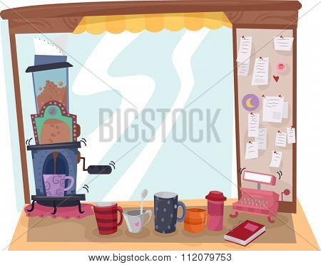 Illustration of a Coffee Stand Selling Coffee Prepared by a Coffee Maker