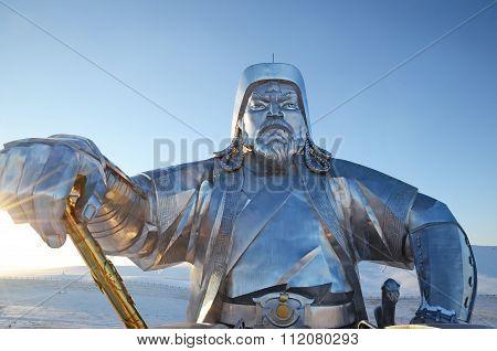 Tsonjin Boldog, MN-Dec,03 2015: Genghis Khan With Legendary Golden Whip.  Statue Complex, Mongolia