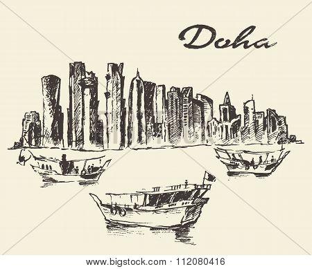 Doha skyline Dhow Qatar illustration drawn sketch