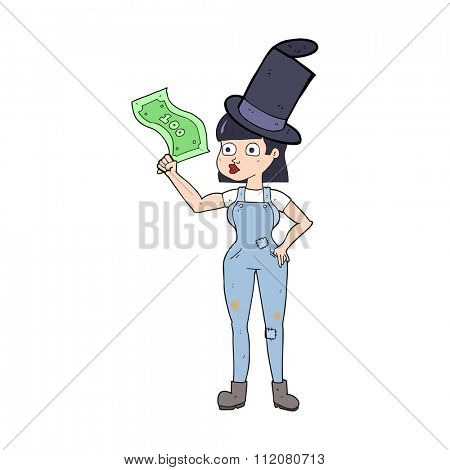 freehand drawn cartoon woman holding on to money