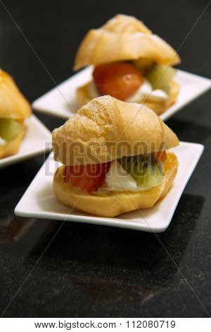 Piece Of Eclair Cream Custard And Fresh Fruit