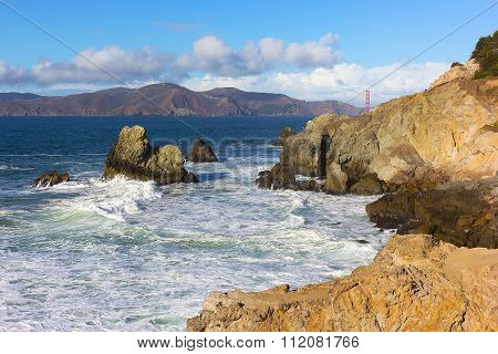 A view on Golden Gate Bridge from the Land Park in San Francisco California USA.