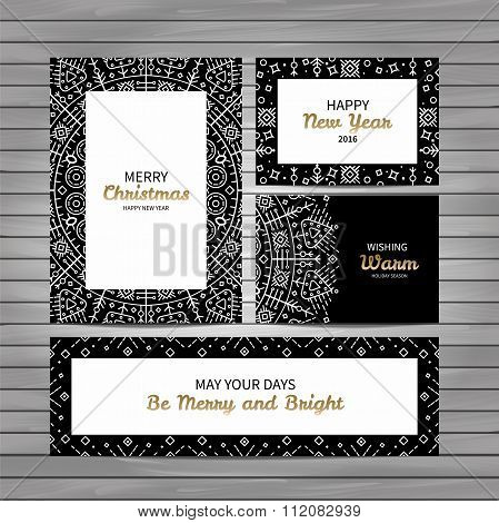 Christmas cards elegant outline geometry style