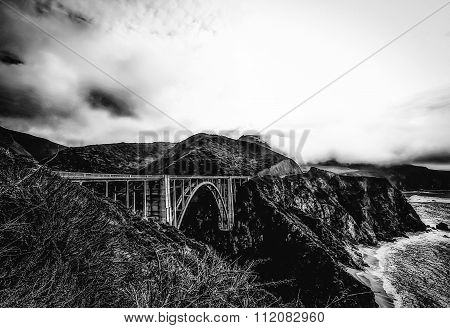 Bixby bridge, Big Sur, California, USA in winter in black and white