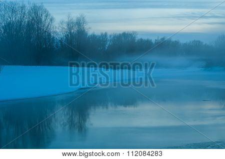 Twilight River Ice Fog