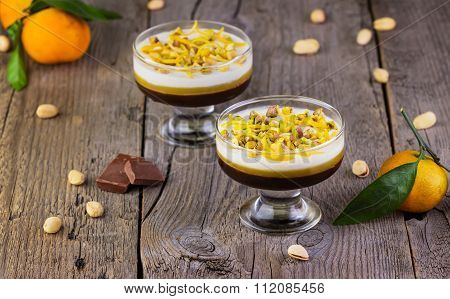 Multi-colored Jelly With Tangerines, Chocolate And Pistachios