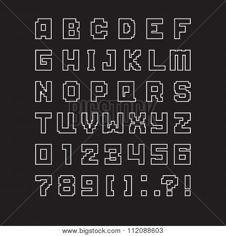 vector isolated pixel letters of latin alphabet