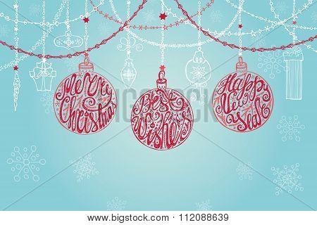 Christmas ball,garlands.New year card