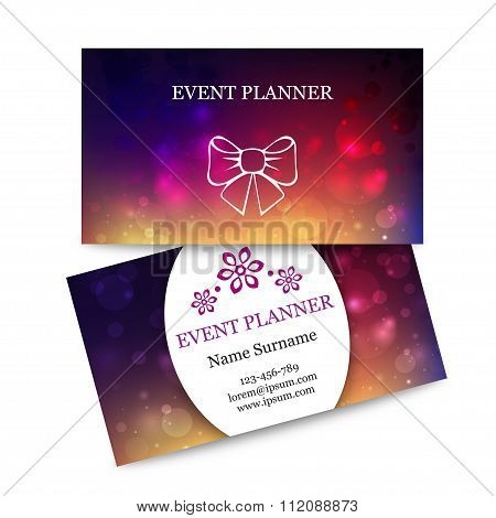 Template colorful business cards for event planner. Abstract magic bokeh background. Effect blurred