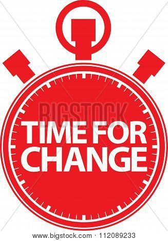 Time For Change Stopwatch Red Icon, Vector Illustration