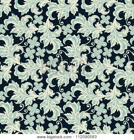 floral seamless pattern in vintage style. colorful vector background